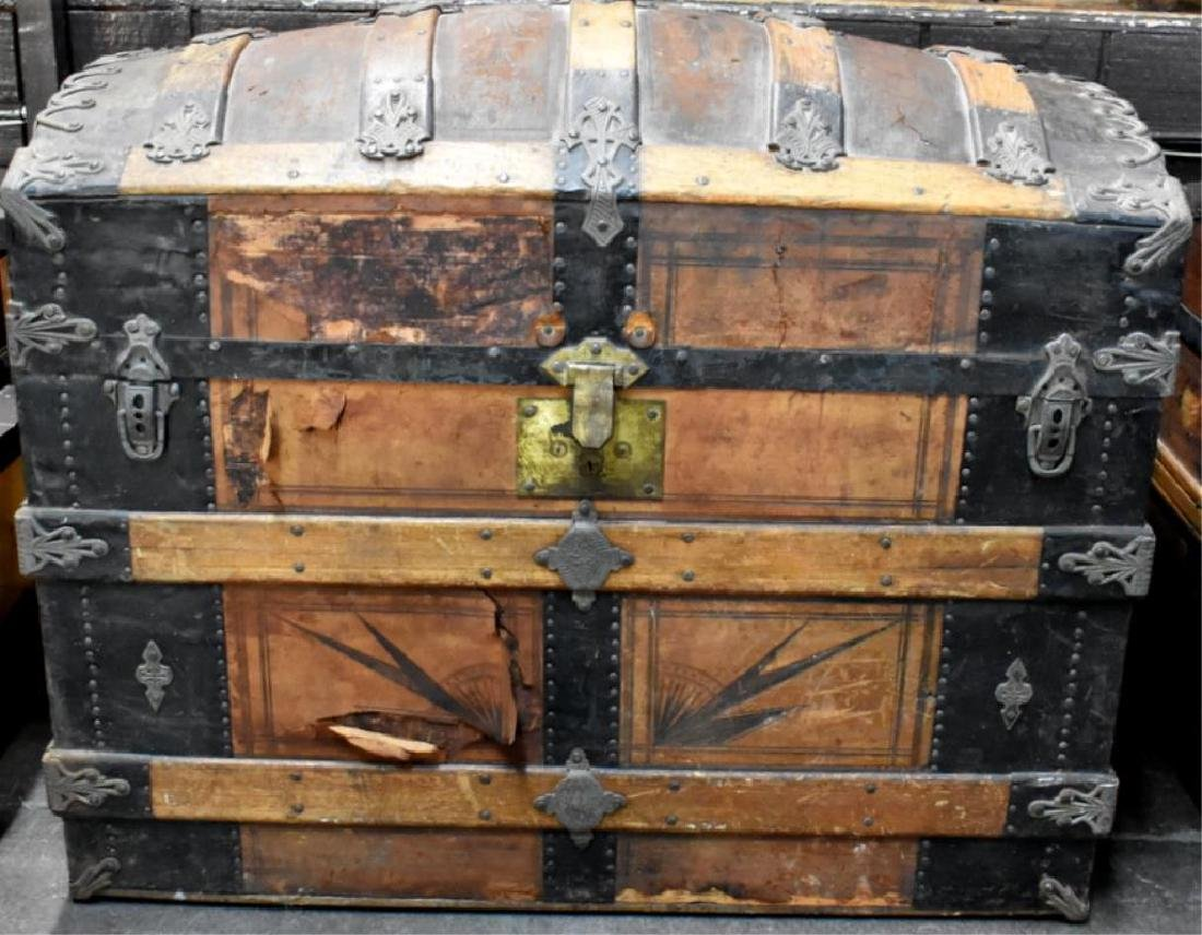 Antique Camel Back Steamer Trunk