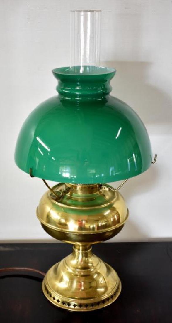 BRASS KEROSENE DESK LAMP WITH EMERALITE SHADE