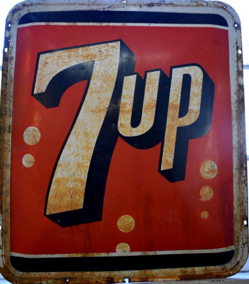 VINTAGE SEVEN-UP ENAMELED METAL SIGN