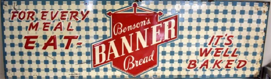 BENSON'S BANNER BREAD TIN ADVERTISING SIGN