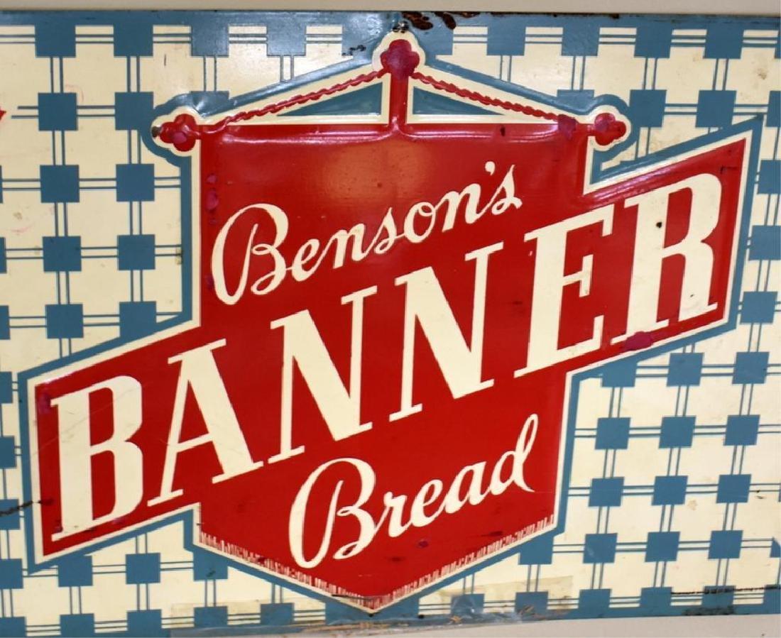 BENSON'S BANNER BREAD TIN ADVERTISING SIGN - 4