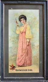 """1904 ANHEUSER BUSCH """"BUDWEISER GIRL"""" PAPER SIGN"""