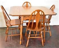 ANTIQUE OAK DROP LEAF DINING TABLE  CHAIRS