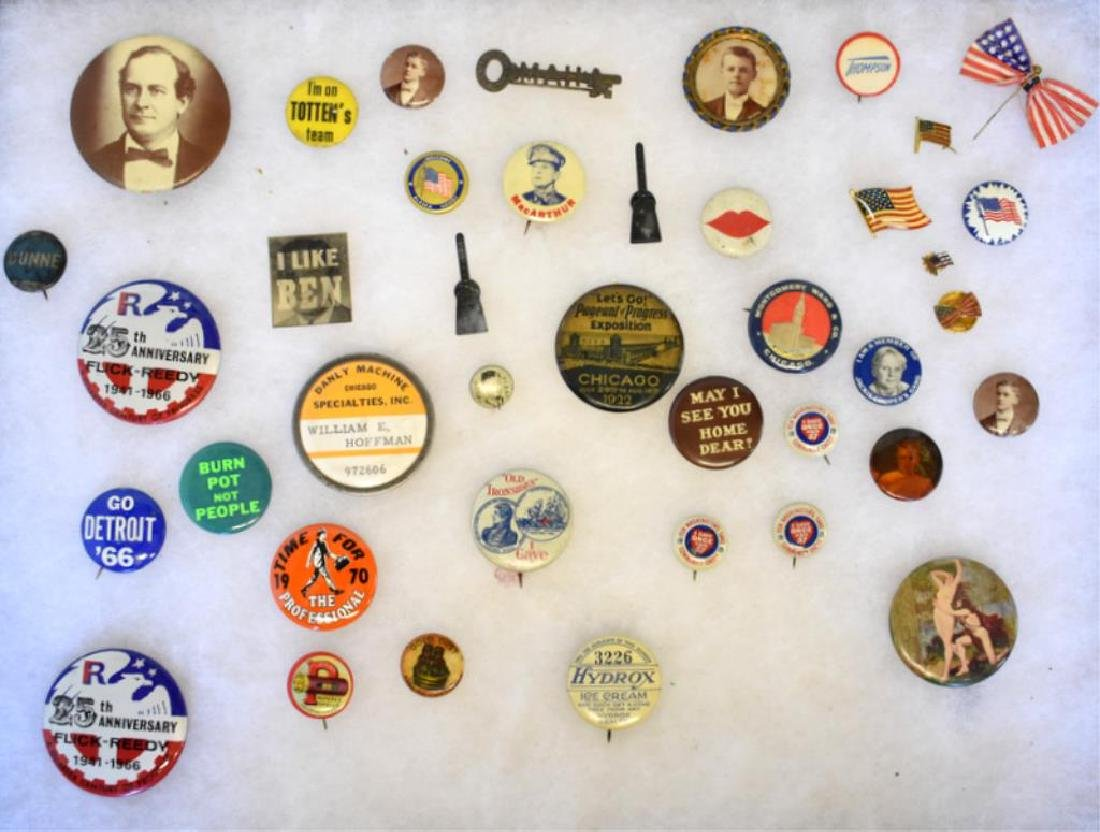 ASSORTED ADVERTISING PIN-BACK BUTTONS & MORE