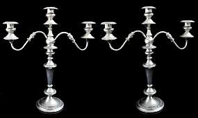 PAIR OF ORNATE SILVERPLATED CANDELABRAS