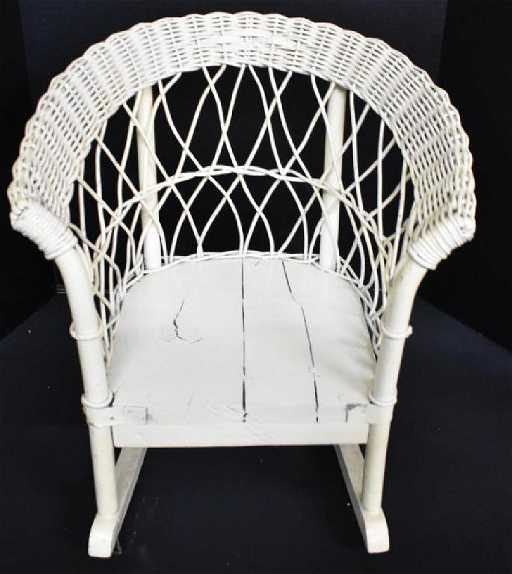 ANTIQUE WICKER CHILD'S ROCKING CHAIR. See Sold Price - ANTIQUE WICKER CHILD'S ROCKING CHAIR