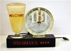 VINTAGE BAVARIAN BEER LIGHT UP SIGN WITH CLOCK