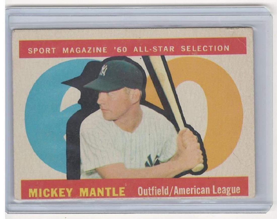 1960 TOPPS MICKEY MANTLE BASEBALL TRADING CARD