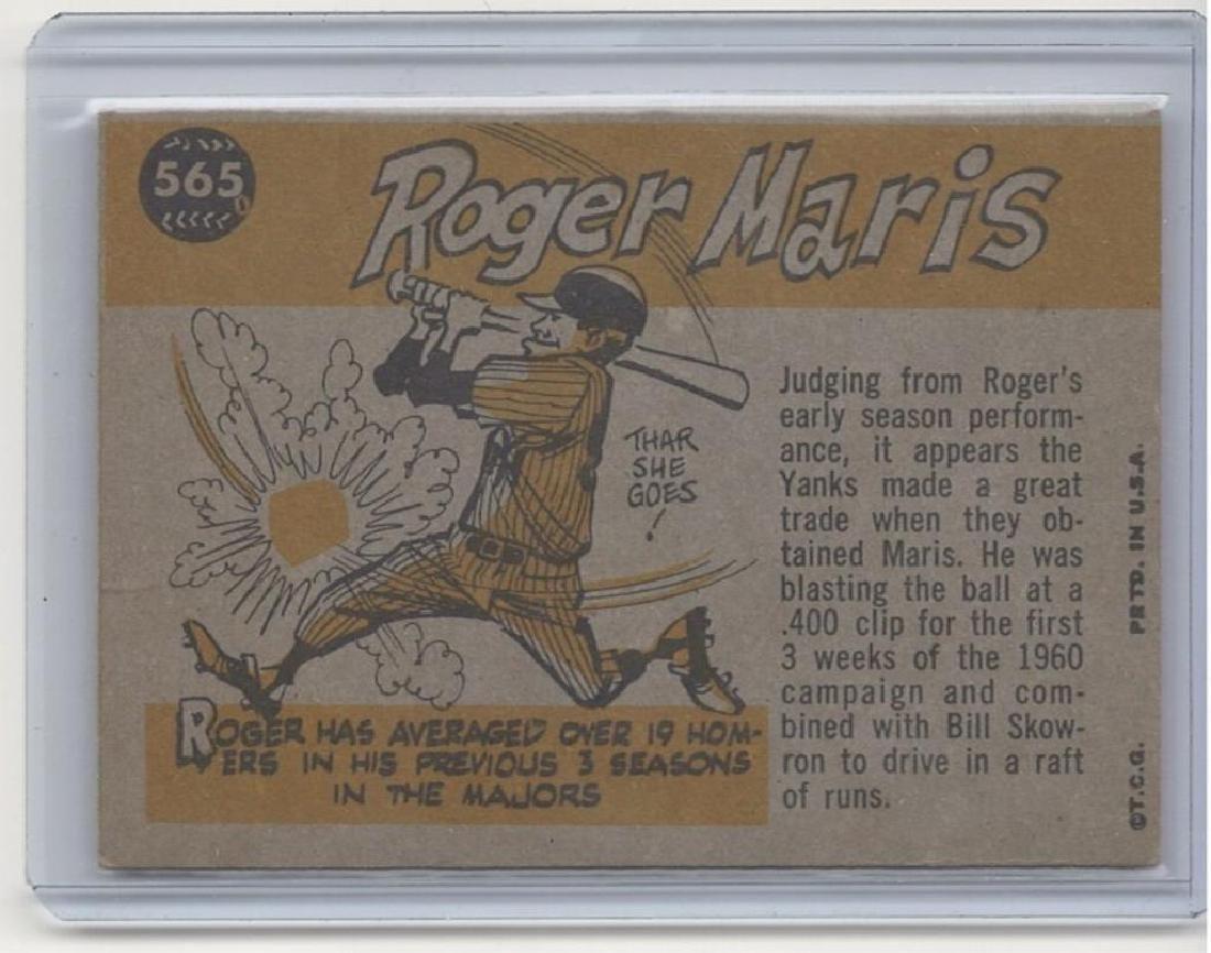 1960 TOPPS ROGER MARIS BASEBALL TRADING CARD - 2