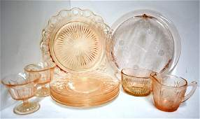 ASSORTED PINK DEPRESSION ERA GLASSWARE