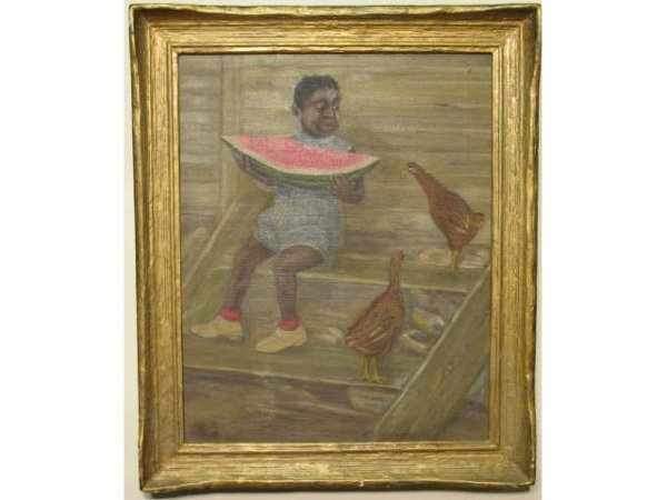 12: Child with Watermelon and Chickens - Ruby Billings
