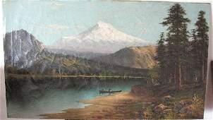 2088: Mt Hood Oil on Canvas Landscape, Signed Englehart