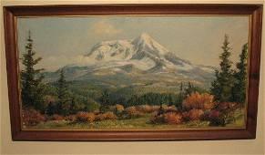 2104: Oil on Board Mountain Scene