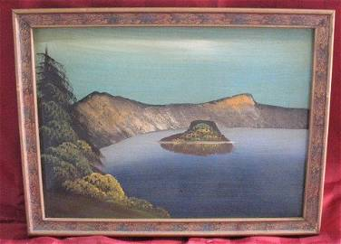 3190: Oil on Board, Crater Lake