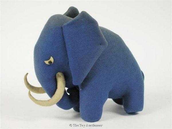 16: A very rare Steiff blue felt stylised elephant