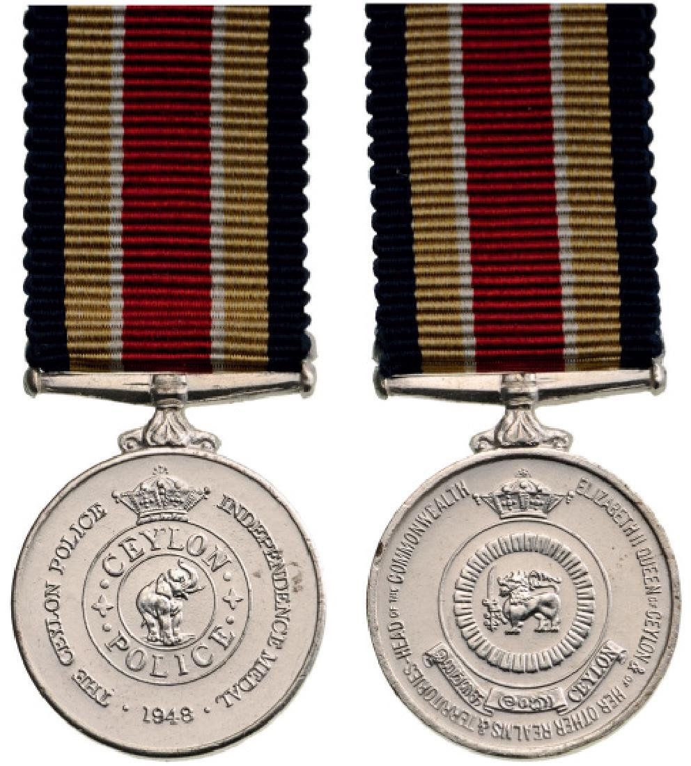 Ceylon Police Independence Medal Miniature, instituted