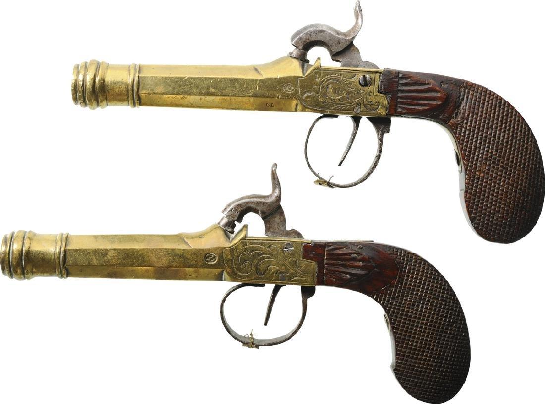 2 Brass Cannon Barrel Pocket Percussion Pistols