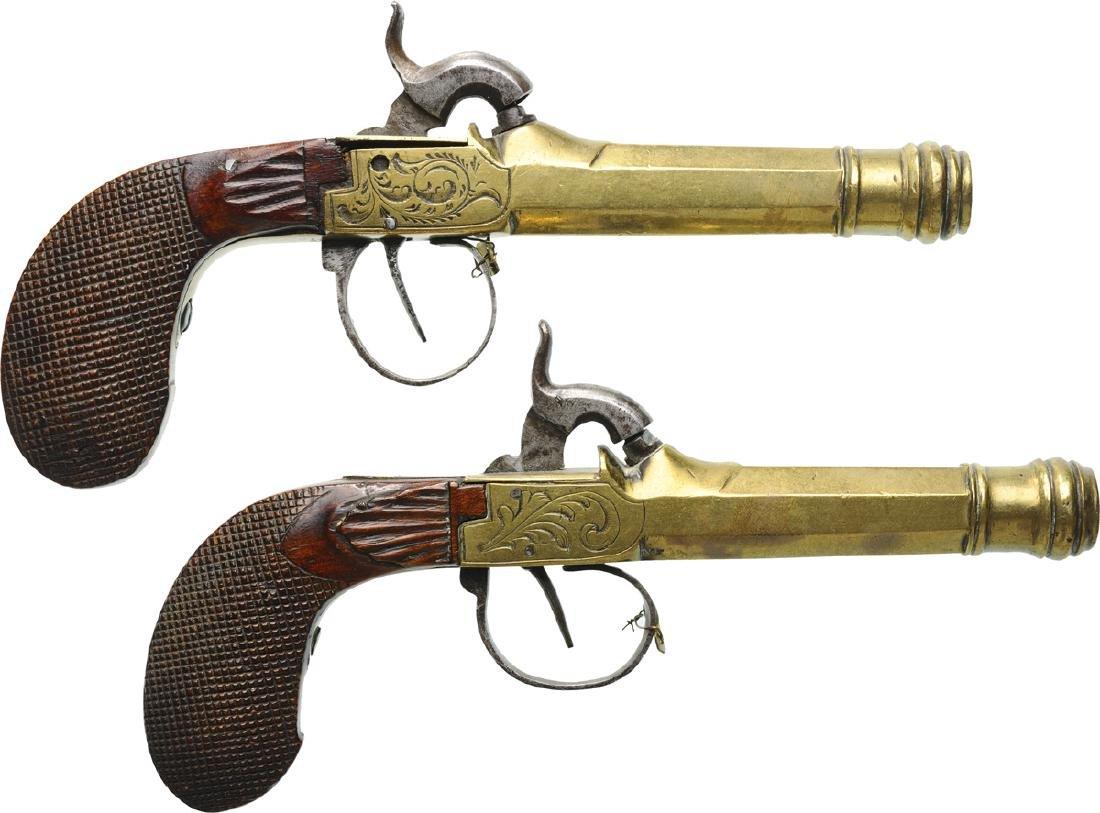 2 Brass Cannon Barrel Pocket Percussion Pistols - 2