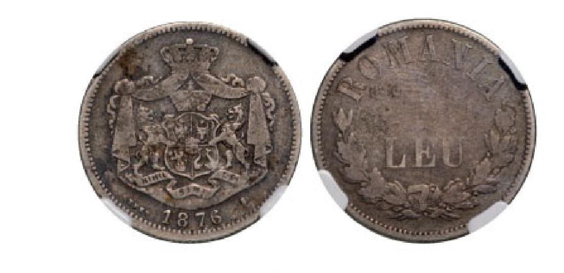 1 Leu 1876, Bruxelles, Silver. The rarest Romanian 1