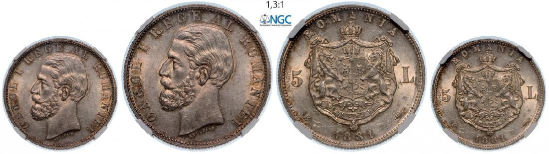 5 Lei 1881, as King, Bucharest, Silver. An exceptionnal