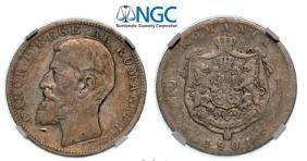2 Lei 1901, Hamburg, Silver. The rarest Romanian 2 Lei
