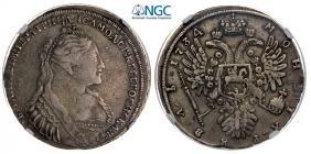 Rouble 1734, Kadashevsky Mint, Moscow, Silver