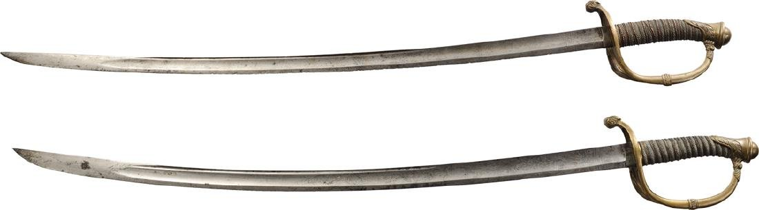 Lot of 2 Cavalry swords without scabbards, late 19th