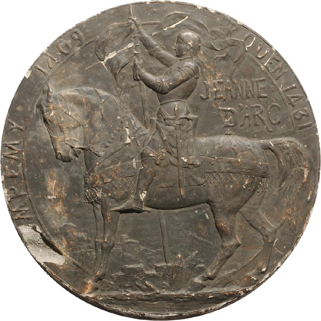 Jeanne D'Arc plaster Plaque, beginning of 20th