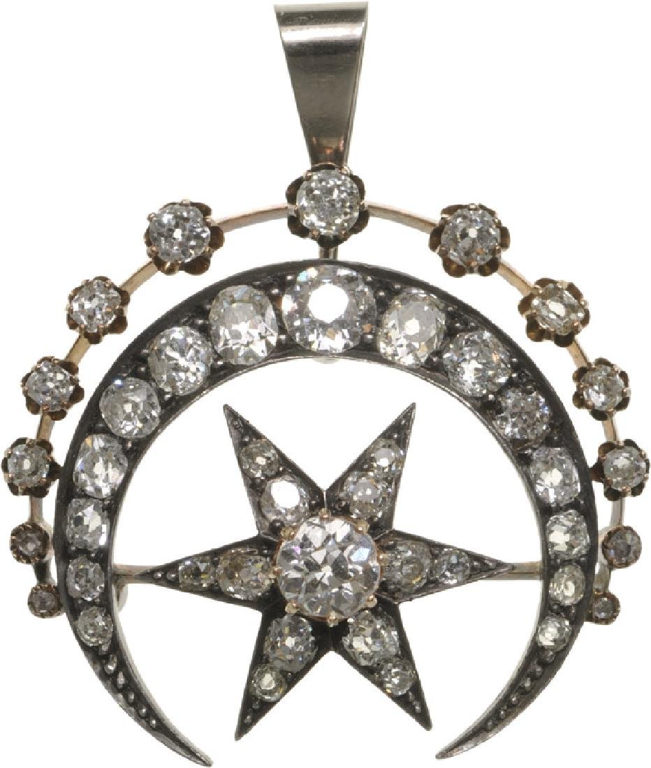 Ottoman Star and Crescent shaped Pendant, Gold and