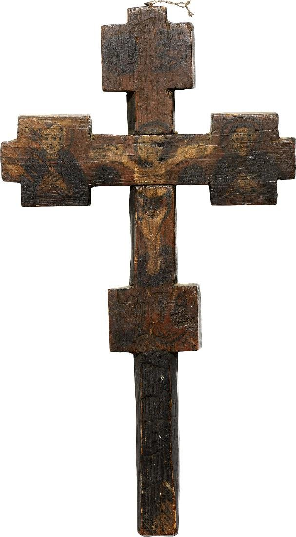 North Carpathian, Blessing Cross, 19th Century, Tempera