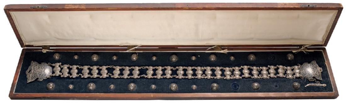 Silver niello belt