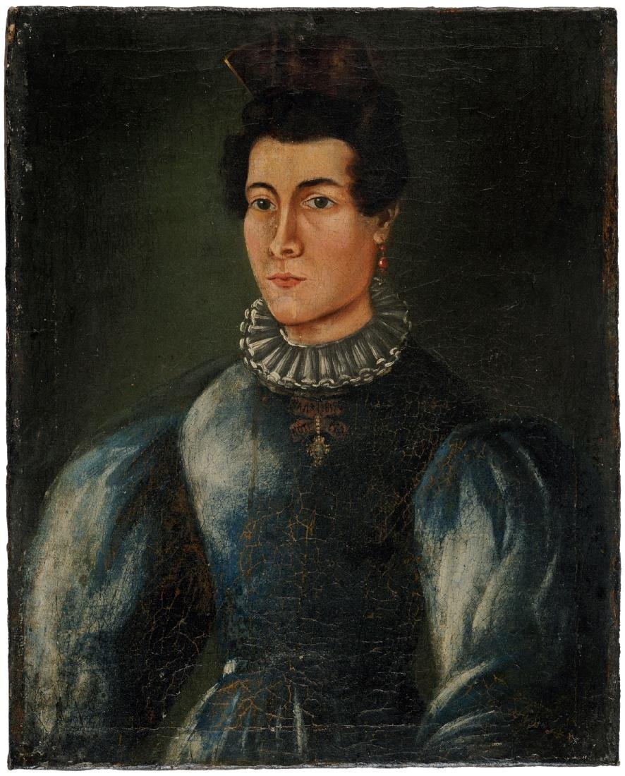 Oil on canvas depicting a lady in a blue dress wearing
