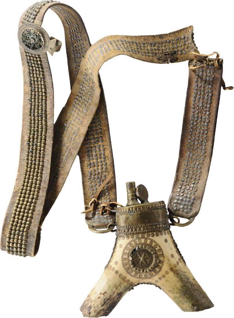 Powder Horn with belt, 18th Century