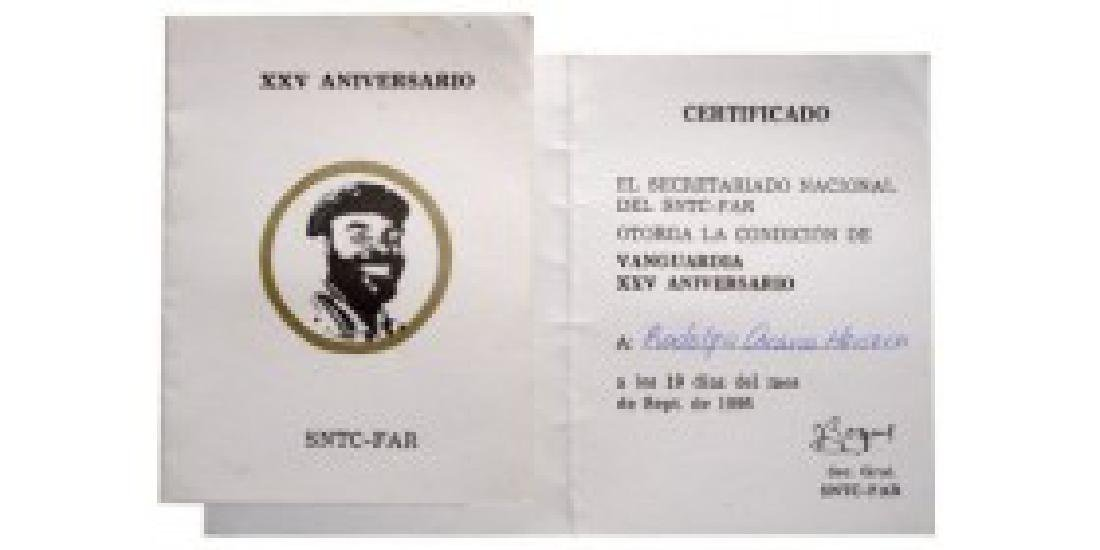 Certificate for the 25th Anniversary of the Title of