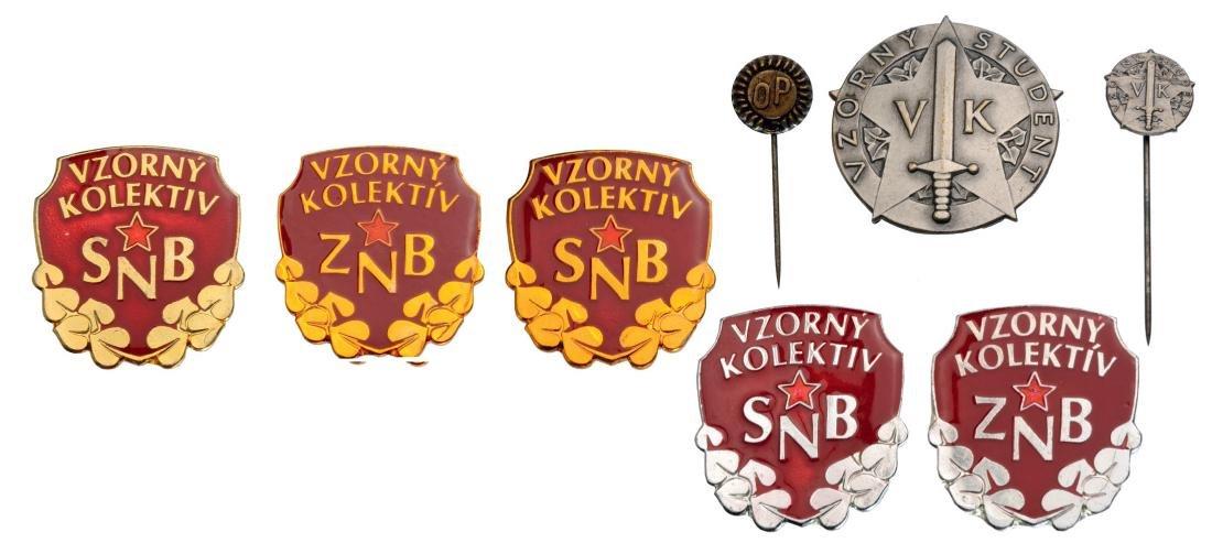 Lot of 8 Czechoslovak Communist Badges: SNB and ZNB