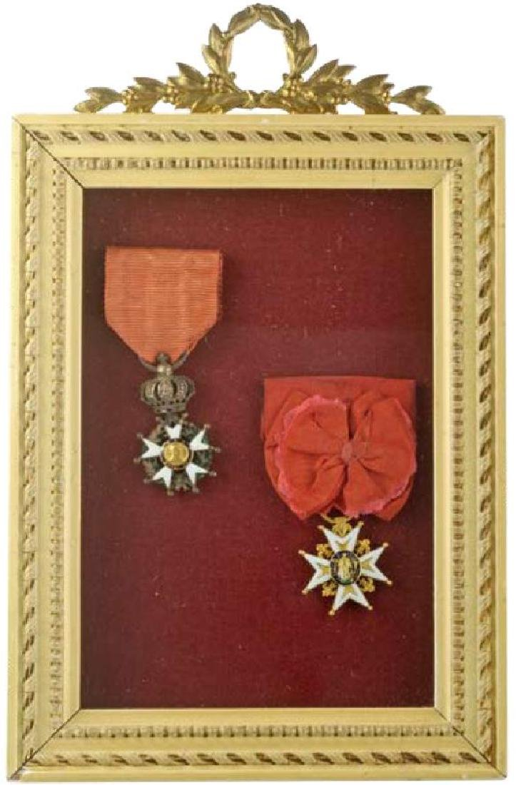 Framed Pair: Order of Saint Louis and the Legion of