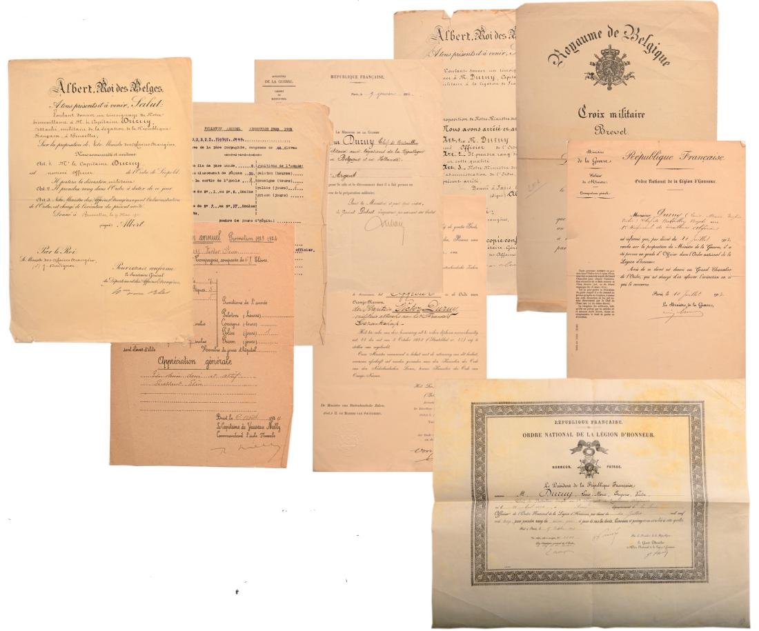 A lot of 9 Diplomas and Documents awarded to a French