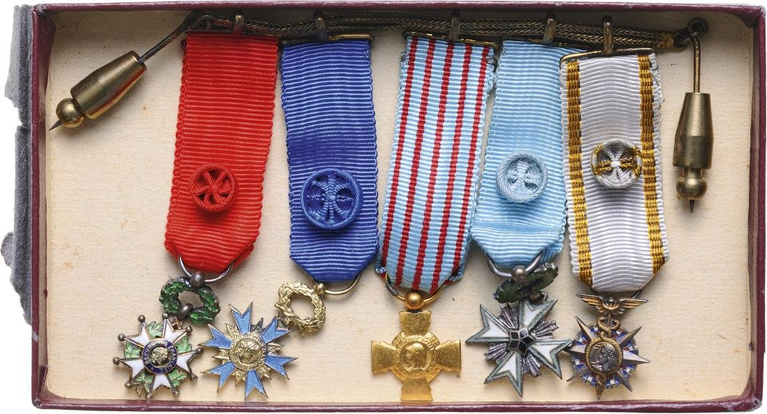 Medal Bar with 5 Miniatures, 5th Republic (1959-)