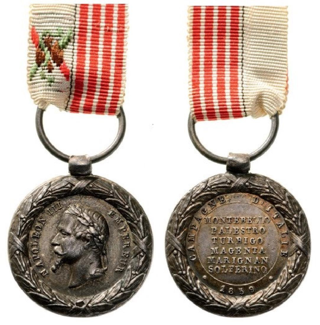 Italy Campaign Medal, unsigned, instituted in 1859