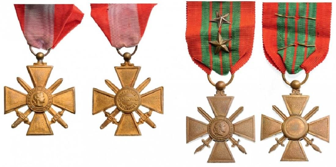 Lot of 2 War Crosses for Overseas Campaign, locally