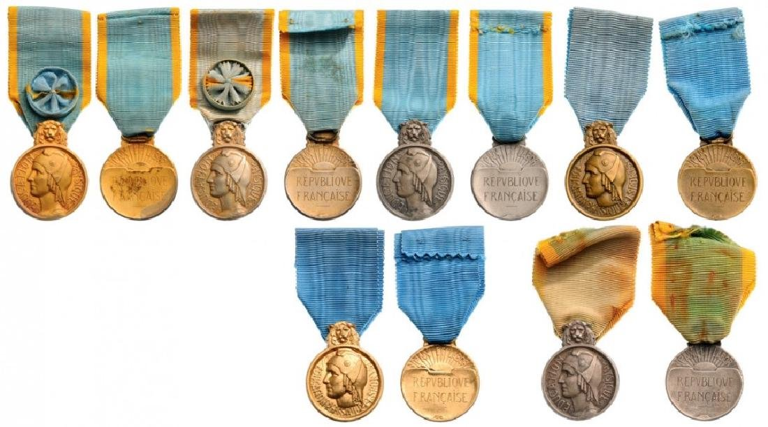 Lot of 7 Sports Honor Medals, 1st Class (2), 2nd Class