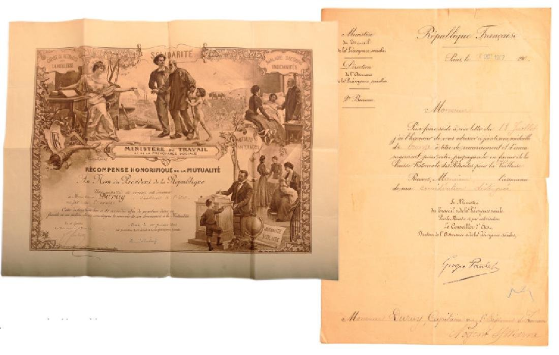 Diploma for a Bronze Medal of Honor for Mutual Aid