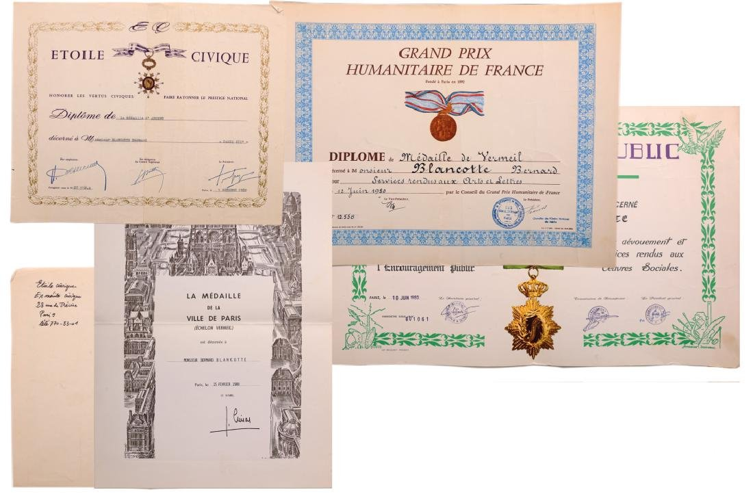A lot of 5 Diplomas awarded to a French Citizen: