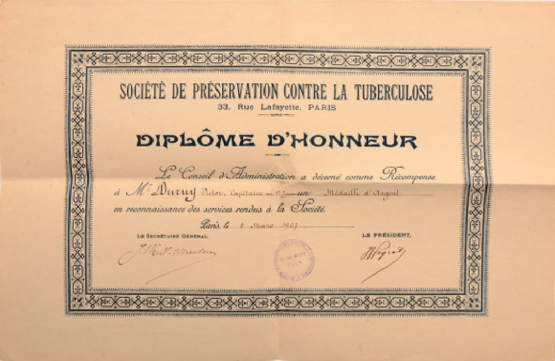 Diploma for a Silver Medal of Honor of the Society of