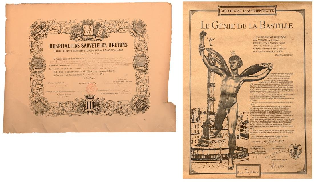 Diploma of the Brittany Rescue Society, instituted in