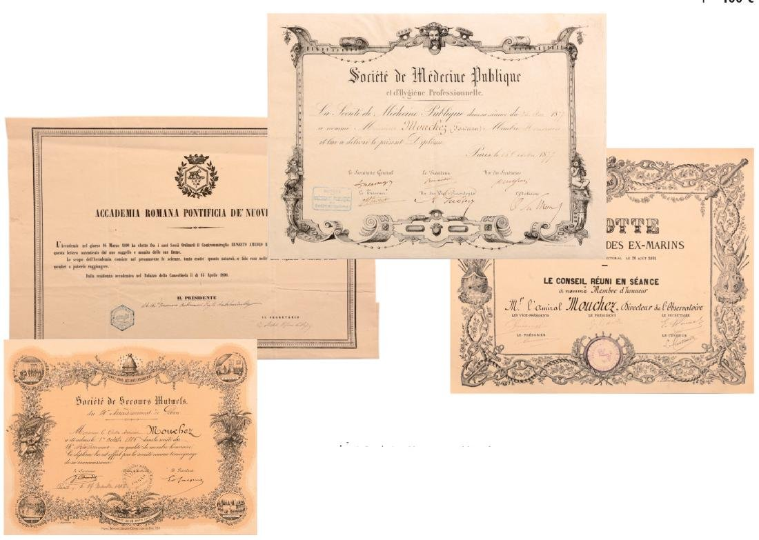 A lot of 6 Diplomas awarded to a French Admiral and