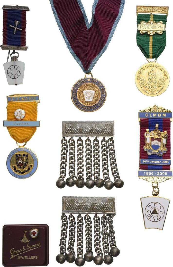 COLLECTION OF 20 MASONIC Badges and Objects