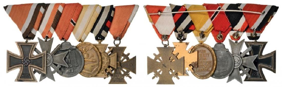 Medal bar with 6 Decorations mounted on triagular