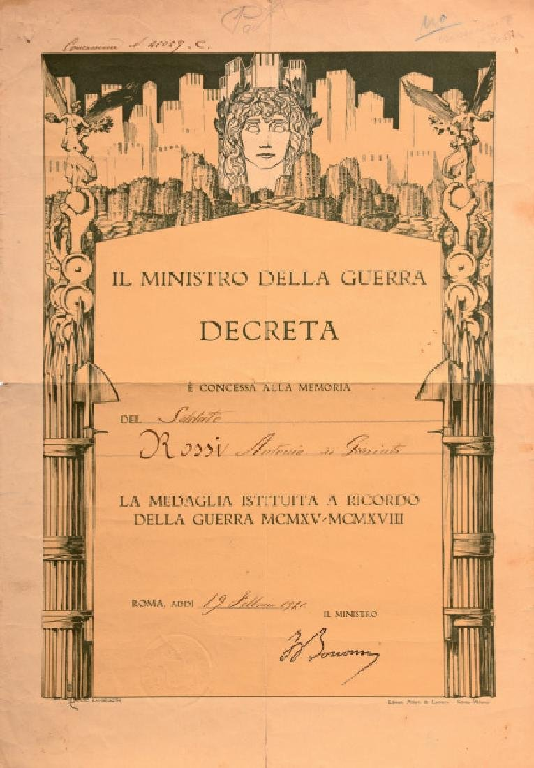 Diploma for the Victory Medal World War I