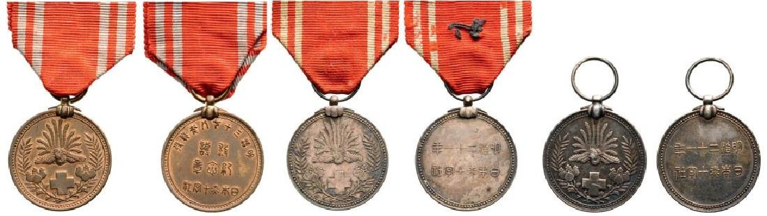 Lot of 3 Red Cross Membership Medal, instituted in 1888
